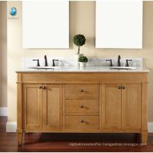 Furniture bathroom cabinet exporter new style solid wood sliding door american vanity
