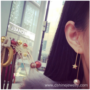 Customized Pearl Pendant Earrings Sweet Alloy Star Ear Studs