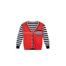Boy's Knitted Stripe Buttoned Brusttasche Cardigan