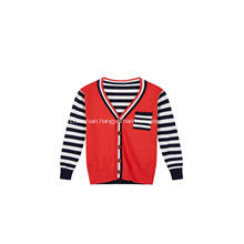 Boy's Knitted Stripe Buttoned Chest Pocket Cardigan