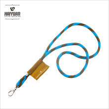 Round Cord Lanyard with a Woven Patch