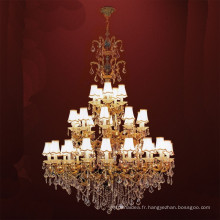 Lustre en cristal d'or européen classique de luxe d'art en métal de fer pour le salon