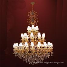 Classical European Iron Metal Art Luxury golden LED Crystal Chandelier for living room