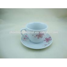 220CC taza de café de porcelana y platillo con la calcomanía rusa