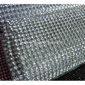 3mm Aluminum base hot fix crystal Silver and golden Diamond Rhinestone Mesh Ribbon