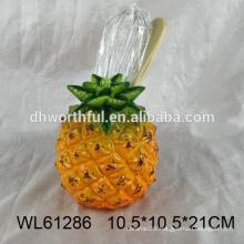 Kitchen utensils holder in ceramic with pineapple shape