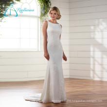 Lace Appliques Button Satin Tulle Wedding Dress 2017