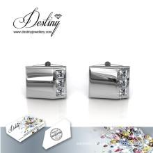Destino joias cristal de Swarovski brilhante senhor 2 botões de punho