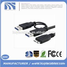 Super speed USB 3.0 A Male to Micro USB 3.0 Y Câble pour disque dur portable Disque dur Noir