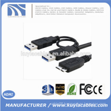 Super speed USB 3.0 A Male to Micro USB 3.0 Y Cable For Mobile HDD Hard disk Black
