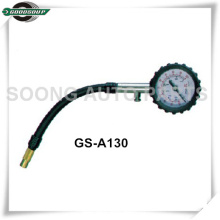 Single-head Dial Type Tire Gauge with flexible hose and air release valve