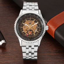 Mens steel skeleton mechanical watch famous clock
