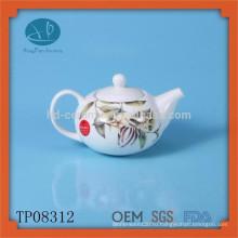 Белый керамический чайник с чайником Чайник с эмалью с деколью