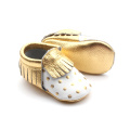 2018 Gold Dots Wholesale Leather Baby Moccasins