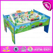 2015 neue Zug Eisenbahn Set Spielzeug, lustige pädagogische Holzspielzeug Zug Spielzeug, hohe Qualität aus Holz Thomas Zug Spielzeug (mit 69PCS) W04D002