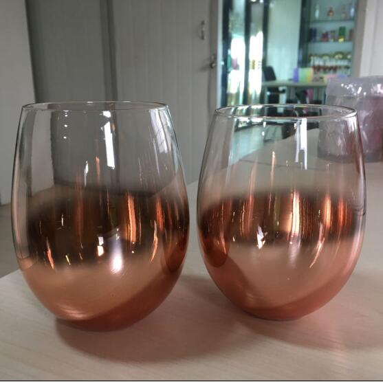 22oz Ombre Rose Gold Stemless Glasses