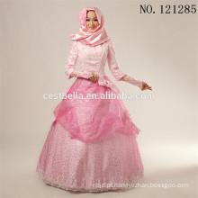 2016 Fashional islâmico muçulmano hijab vestido de noiva rosa