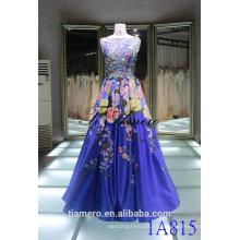 China 2016 una línea de novia vestido de novia azul sin mangas coloridas flores 3D Volver V-abierto ver a través de vestido de noche vestido de fiesta