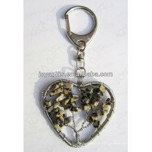 Ponto pedra chip pedra sorte árvore Coração forma Gemstone keychain, pingentes pingente de pedra preciosa, pedra chaveiro