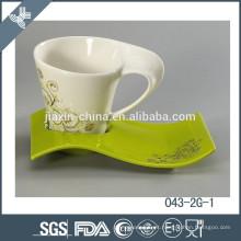Novo design quente vender xícara de chá de porcelana e pires atacado