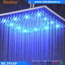 A cor de 16 polegadas do banheiro mudou a cabeça de chuveiro impermeável do diodo emissor de luz do luxo
