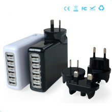 6 ports Chargeur universel chargeur chargeur Chargeur portable Prise interchangeable Chargeur 5V = 4A