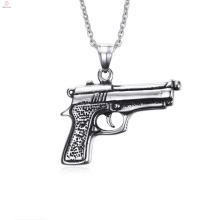 Latest Design Stainless Steel Gun Pendants Necklace For Men