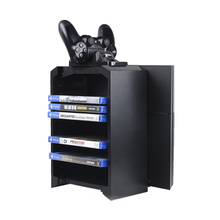 Game Accessories for PlayStation 4/Slim/Pro & XBox One (S) Game Disks Storage Console Vertical Stand with Joystick Charger