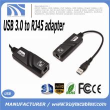 Hot-sale Black USB 3.0 10/100 / 1000Mbps Gigabit Ethernet Carte réseau externe RJ45 Connecteur adaptateur LAN Un port USB