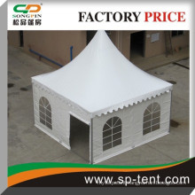 5m by 5m wedding tent in white with aluminum frame and pvc rolling door