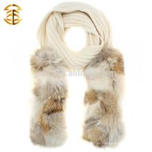 Diseño de marca invierno cálido de punto de lana y genuina piel de mapache bufanda