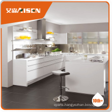 high gloss bake painting material modern pre assembled White kitchen cabinet