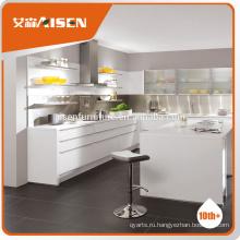 Высококачественный глянцевый материал для выпекания современный предварительно собранный Белый кухонный шкаф