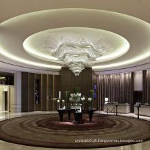 Luminária pendente de cristal para salão de escritório grande e clássica personalizada