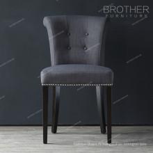 bouton de tissu moderne nailheads luxe noir à manger chaises