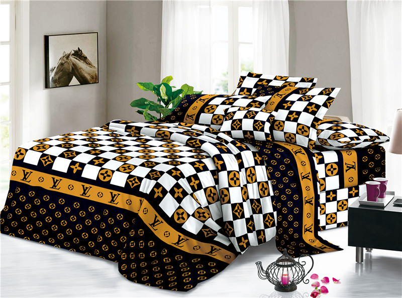 Soft Polyester Printed Checked Floral Designs Bed Sheets 2