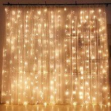 Luzes conduzidas brancas mornas da corda da cortina de USB