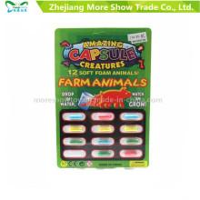 Cápsulas crecientes mágicas del animal de la granja que amplían los juguetes de la cápsula de la espuma de la esponja