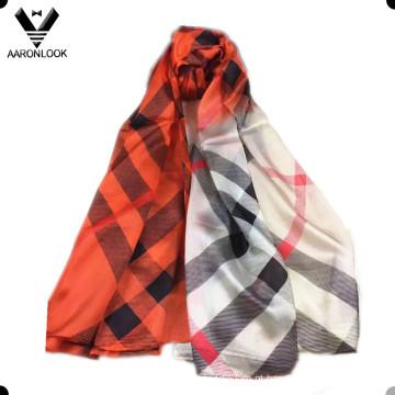 Lenço de seda colorido da listra da sarja do estilo grande do luxo do tipo das mulheres