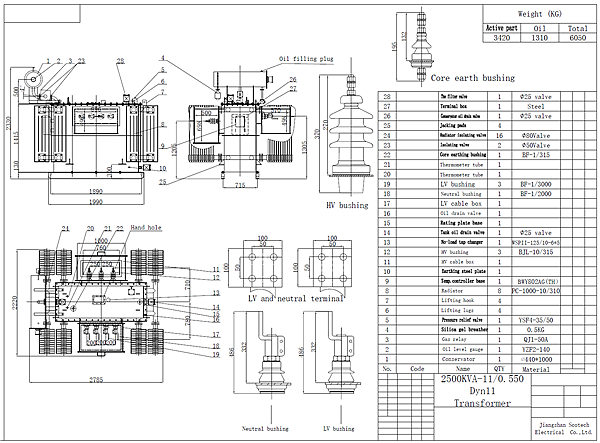 2500kva transformer drawing
