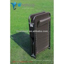 Confortable Lay Long lit avec oreiller / Utile Out Porte pliante Camp / Haute qualité Durable Beach à l'aide de lit