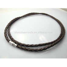Fashion and simple 4mm Black Braided Leather Necklace Fashion Necklaces
