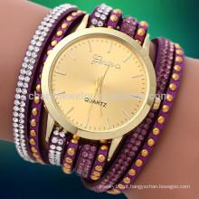 2016 relógios de couro longos do quartzo do pulso das mulheres do rhinestone do cristal novo do relógio do envoltório da forma relógios BWL006