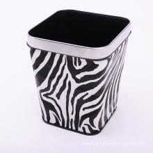 Zebra Design European Style Leder Covered Dustbin