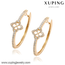 92059 Fashion 18k Gold-Plated Cubic Zirconia Round Jewelry Earring Hoop