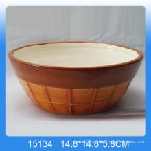 Cuenco de frutas de cerámica pintado a mano con diseño de helado