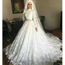 AP-12 Nueva llegada de botón de la cubierta de las mujeres árabes vestido de baile hecho a mano Appliqued manga larga de una boda vestido de la boda de los musulmanes