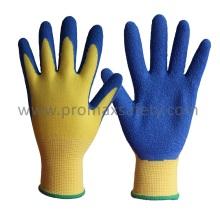 13G Polyester Liner Blue Latex Crinkle Finish Palm beschichtete Arbeitshandschuhe