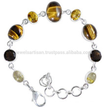 Rutileted Quartz Tiger Eye Citrine & Smoky Quartz with 925 Silver Chain Bracelet for All Time Wear