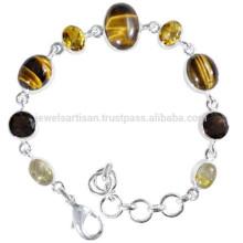 Rutileted кварц тигровый глаз цитрин & дымчатый кварц с 925 Серебряная цепочка Браслет для все время носить